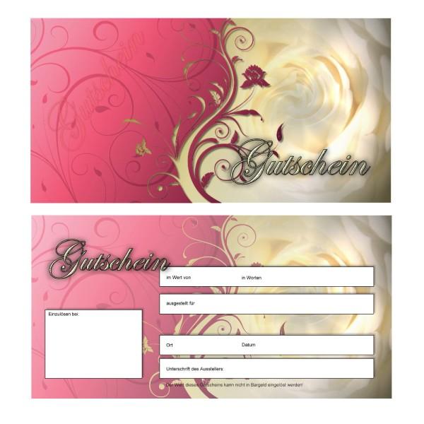 25 Gutscheinkarten - Geschenkgutscheine Pink Rose